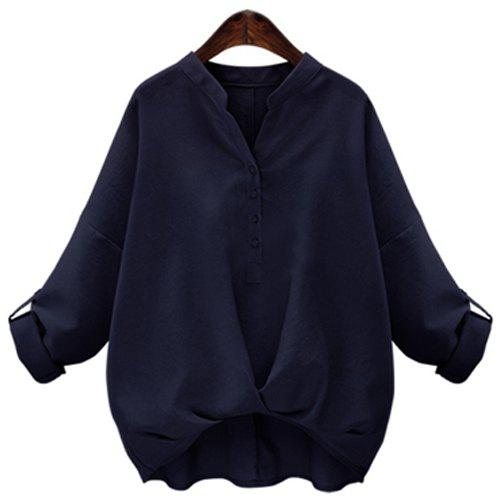 Fashionable V-Neck Long Sleeves Buttoned Pure Color Women's Blouse - DEEP BLUE S