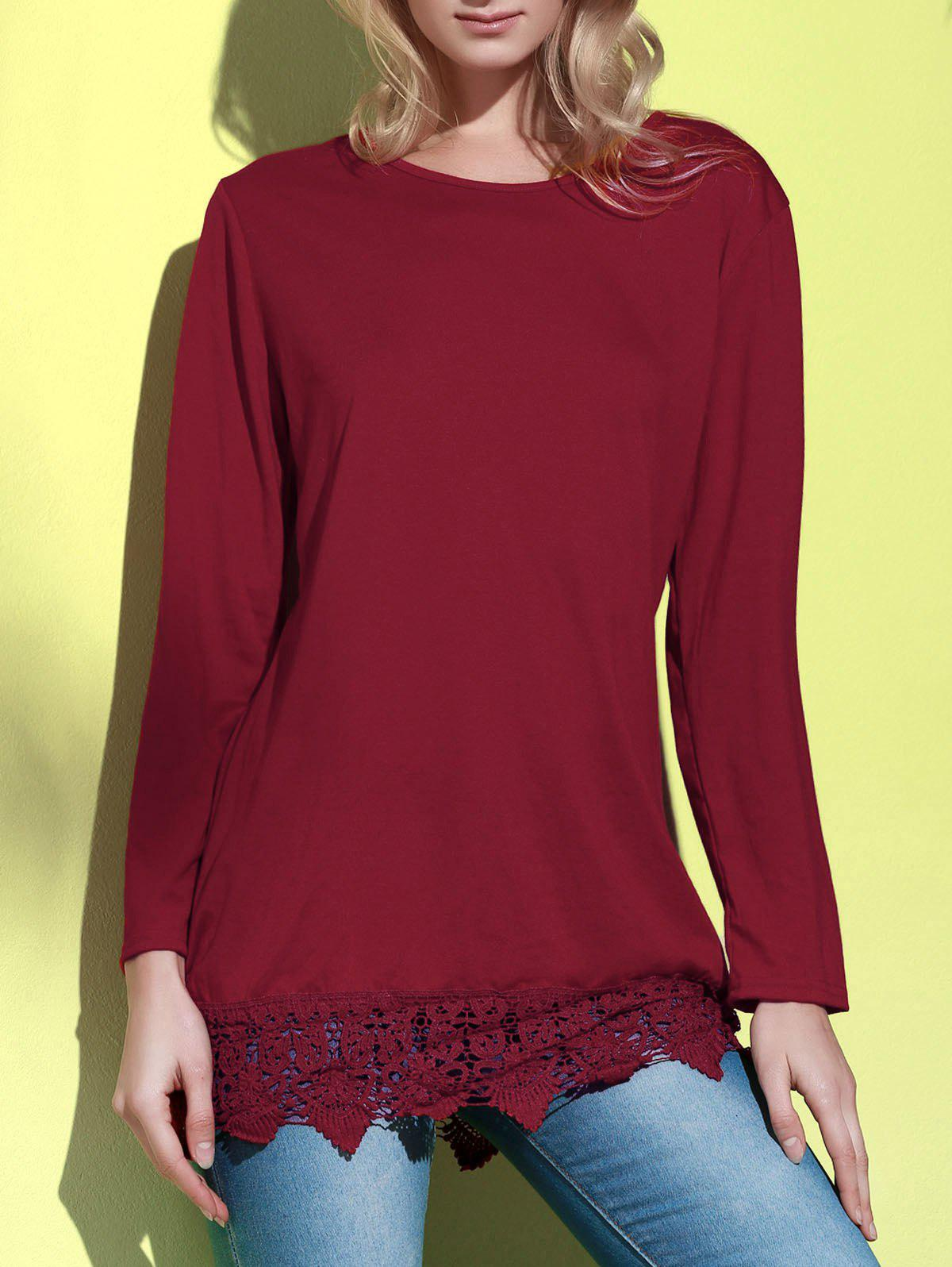 Stylish Long Sleeve Round Neck Laciness Pure Color Women's Dress - WINE RED XL