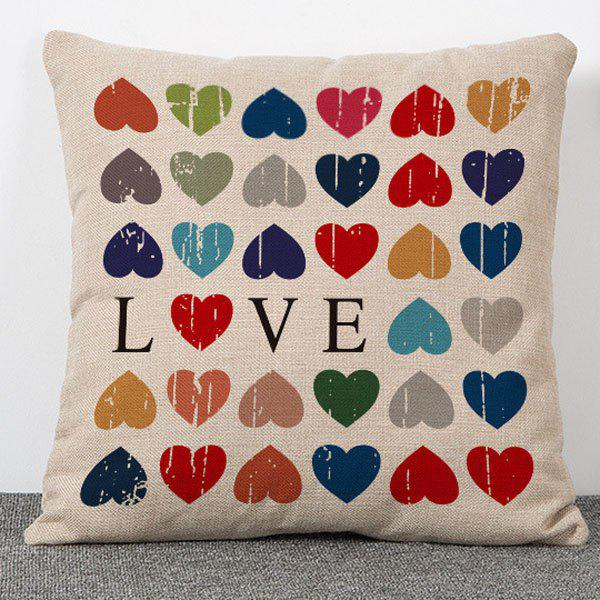 Fashion Colorful Love Pattern Flax Pillow Case(Without Pillow Inner) stylish colorful love heart pattern flax pillow case(without pillow inner)