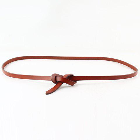 Chic Solid Color Women's Knotted PU Belt - LIGHT BROWN