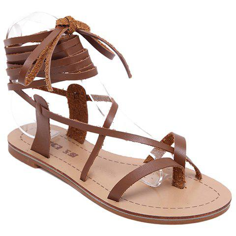 Casual Lace-Up and Flat Heel Design Women's Sandals - LIGHT BROWN 37