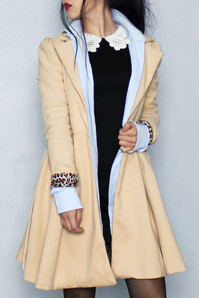 Noble Long Sleeve Turn-Down Collar Self Tie Belt Pure Color Women's Coat Dress - KHAKI M