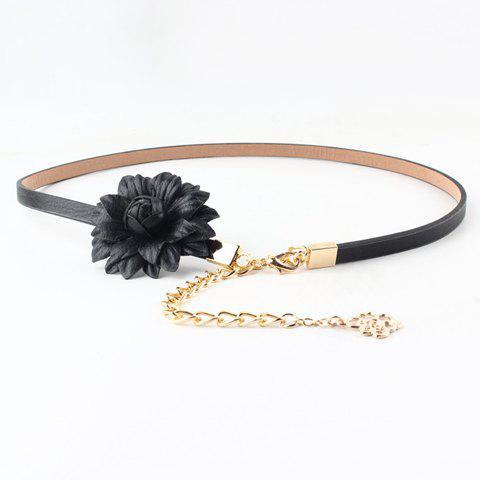 Chic Chain Pendant and Flower Embellished Women's PU Slender Belt - BLACK
