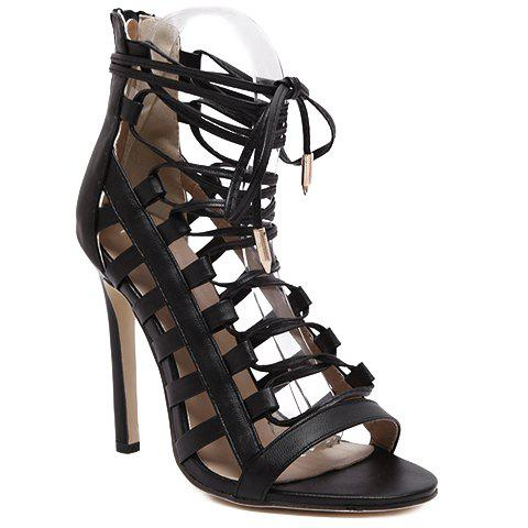 Trendy PU Leather and Lace-Up Design Women's Sandals - BLACK 35