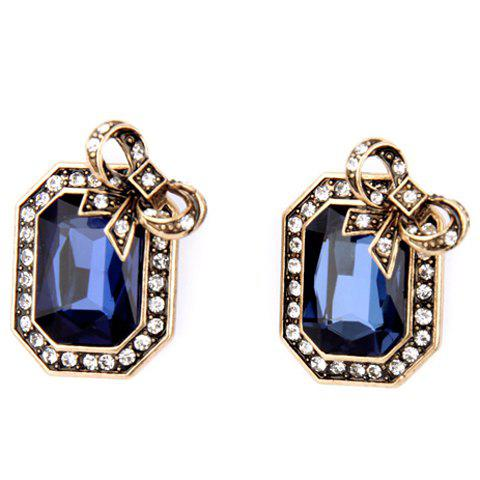Pair of Trendy Faux Crystal Rectangle Earrings For Women - BLUE