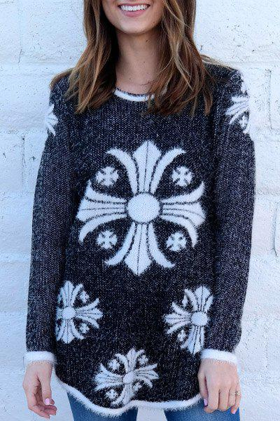 Trendy Cross Printed Jewel Neck Thick Mohair Pullover Sweater For Women