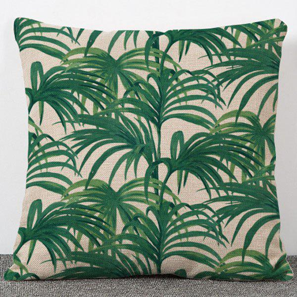 Fashionable Green Plants Pattern Flax Pillow Case(Without Pillow Inner) - COLORMIX
