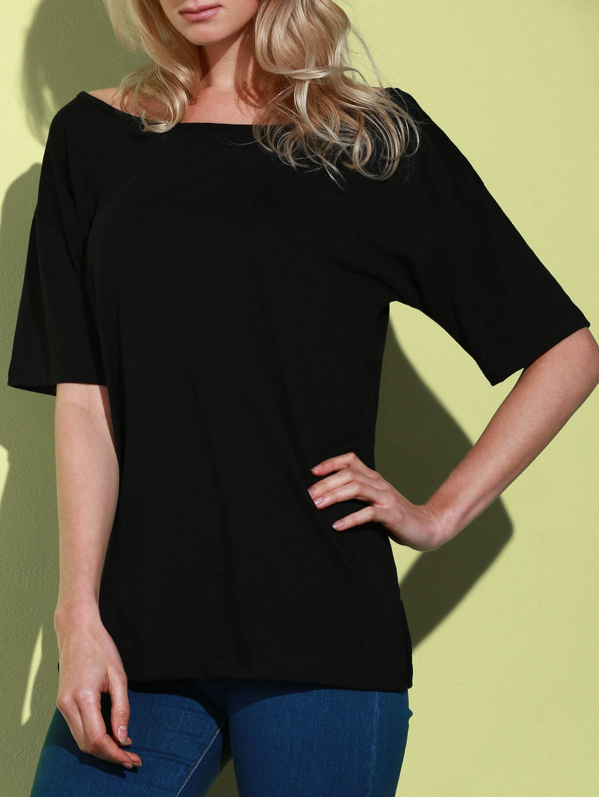 Casual Women's 1/2 Sleeve Loose-Fitting Solid Color T-Shirt - BLACK S