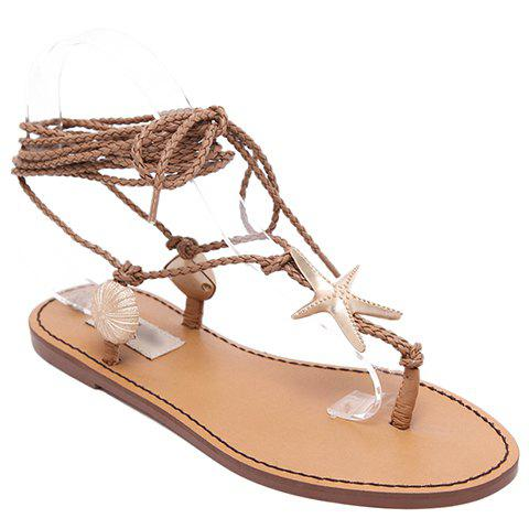 Bohemian Asymmetrical and Lace-Up Design Women's Sandals - LIGHT BROWN 38