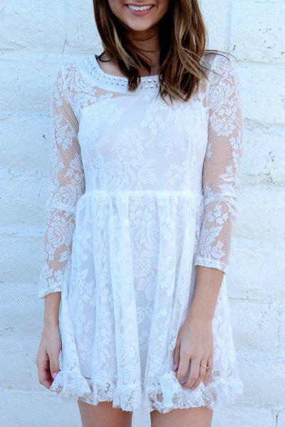 Noble Beaded Scoop Neck High Waist Ruffled White Lace Dress For Women white casual round neck ruffled dress