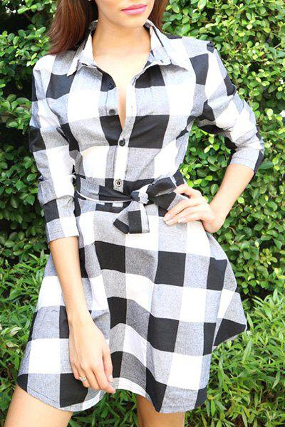 Stylish Turn-Down Collar 3/4 Sleeve Belted Gingham Women's Dress - WHITE XL