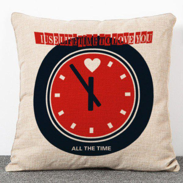 Fashion Alarm Clock Pattern Flax Pillow Case(Without Pillow Inner) - COLORMIX