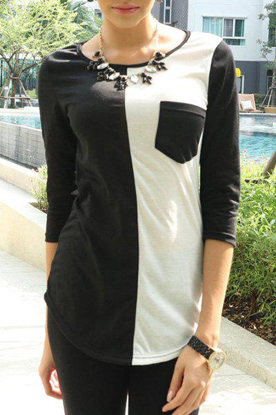 Casual Scoop Neck 3/4 Sleeve Color Block T-Shirt For Women - BLACK M