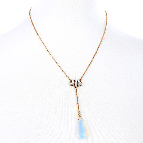 Water Drop Faux Crystal Pendant Necklace - GOLDEN