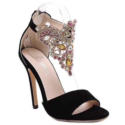 Party Stiletto Heel and Colorful Rhinestone Design Women's Sandals - BLACK 36