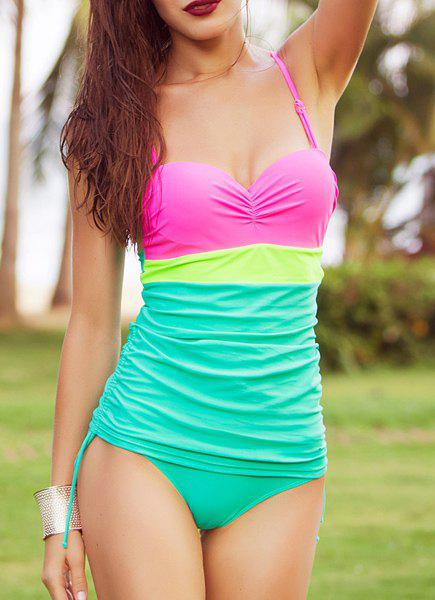 Sweet Color Block Spaghetti Strap Women's One Piece Swimsuit - GREEN 2XL