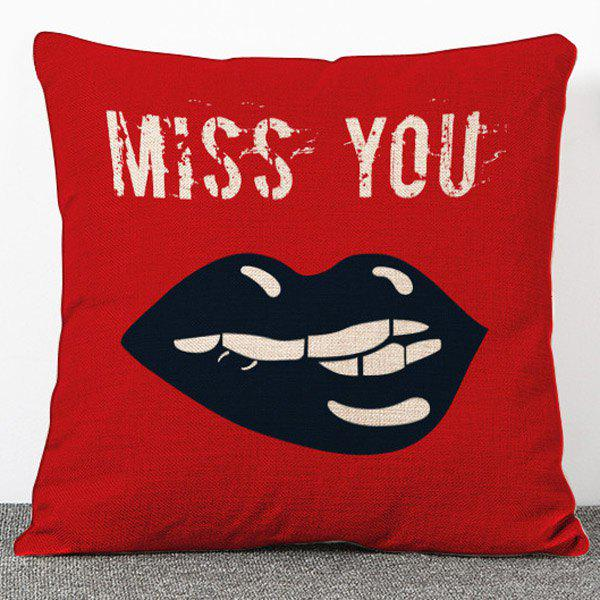 Hot Sale Cartoon Mouth Pattern Flax Red Pillow Case(Without Pillow Inner)