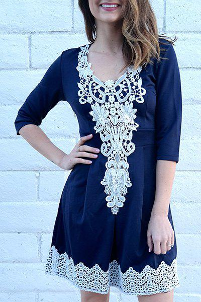 1/2 Sleeve Lace Splicing Round Neck A-Line Dress For Women - PURPLISH BLUE M