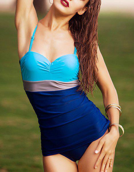 Sweet Color Block Spaghetti Strap Women's One Piece Swimsuit - DEEP BLUE XL