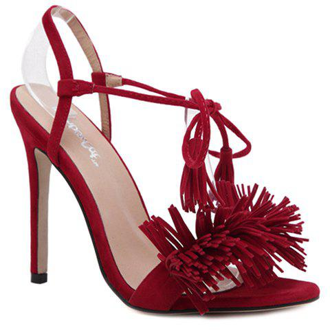 Trendy Lace-Up and Fringe Design Women's Sandals - RED 38
