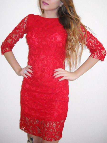 Slash Collar Backless Cut Out Lace Dress - RED S