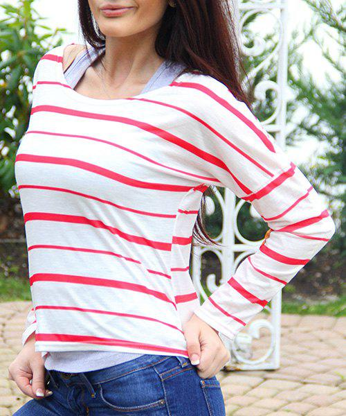 Stylish Striped Scoop Neck Elbow Spliced Long Sleeve T-Shirt For Women - RED M