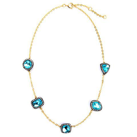 Chic Rhinestone Faux Crystal Necklace For Women - BLUE