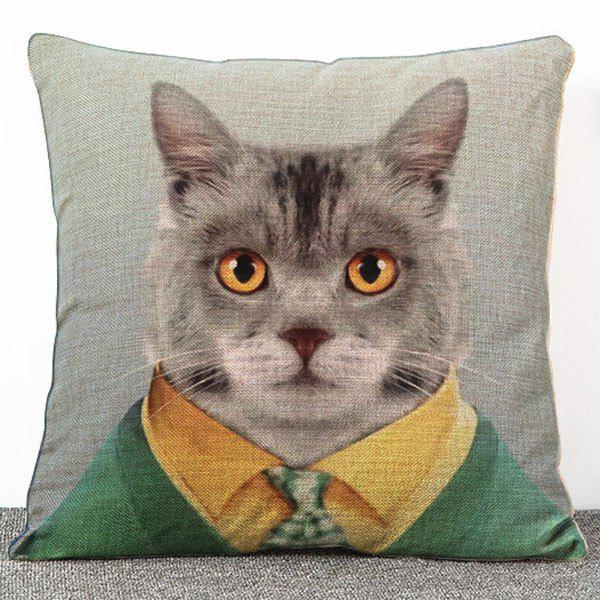 Chic Quality Cartoon Mr. Cat Pattern Flax Pillow Case(Without Pillow Inner) - COLORMIX