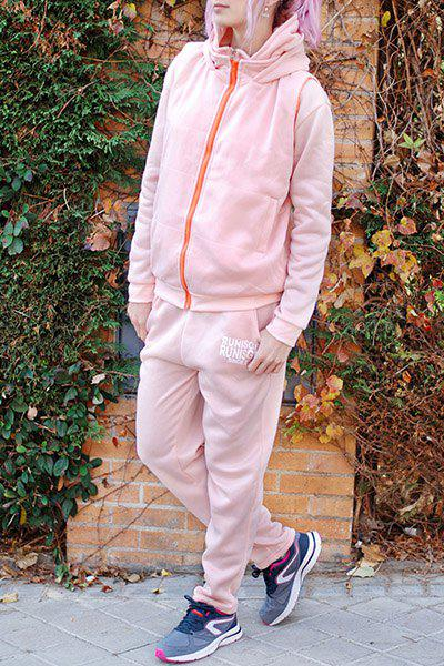 Active Graphic Hoodie and Flocking Waistcoat and Pants - PINK L