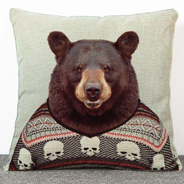 High Quality Cartoon Mr. Bear Pattern Flax Pillow Case(Without Pillow Inner)