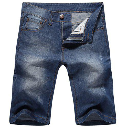 Casual Zip Fly Straight Legs Denim Shorts For Men - BLUE 32