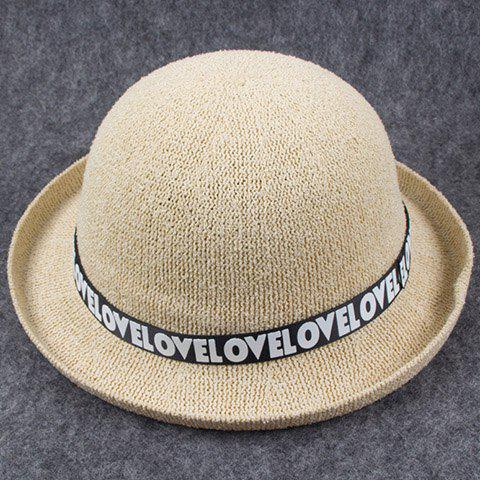 Chic Letters Print Band Embellished Women's Knitted Bowler Hat - BEIGE