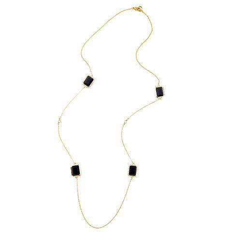 Gorgeous Faux Gem Square Sweater Chain For Women - GOLDEN