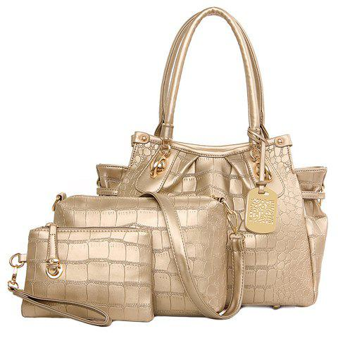 Trendy PU Leather and Crocodile Print Design Tote Bag For Women - GOLDEN