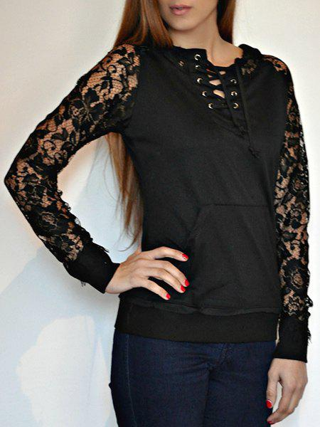 Stylish Lace Splicing Lace-Up Long Sleeve Women's Hoodie - BLACK M