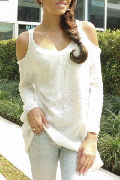 Trendy Sweetheart Neck Cut Out Long Sleeve Solid Color Sweater For Women - WHITE XS