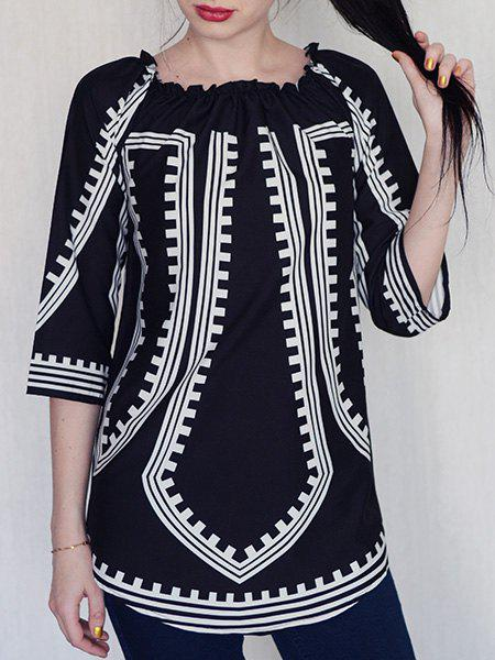 Fashionable Long Sleeve Off-The-Shoulder Printed Women's Dress - BLACK S
