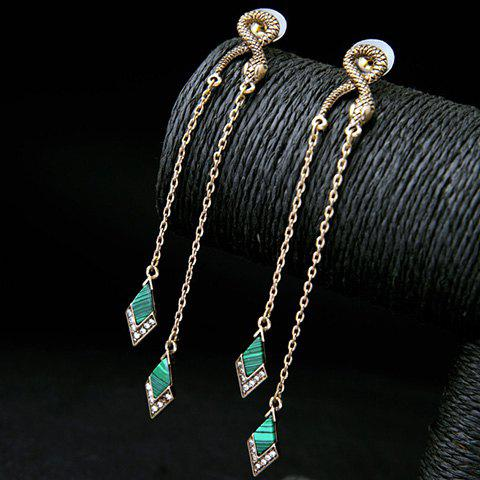 Pair of Geometric Rhinestone Earrings - GOLDEN