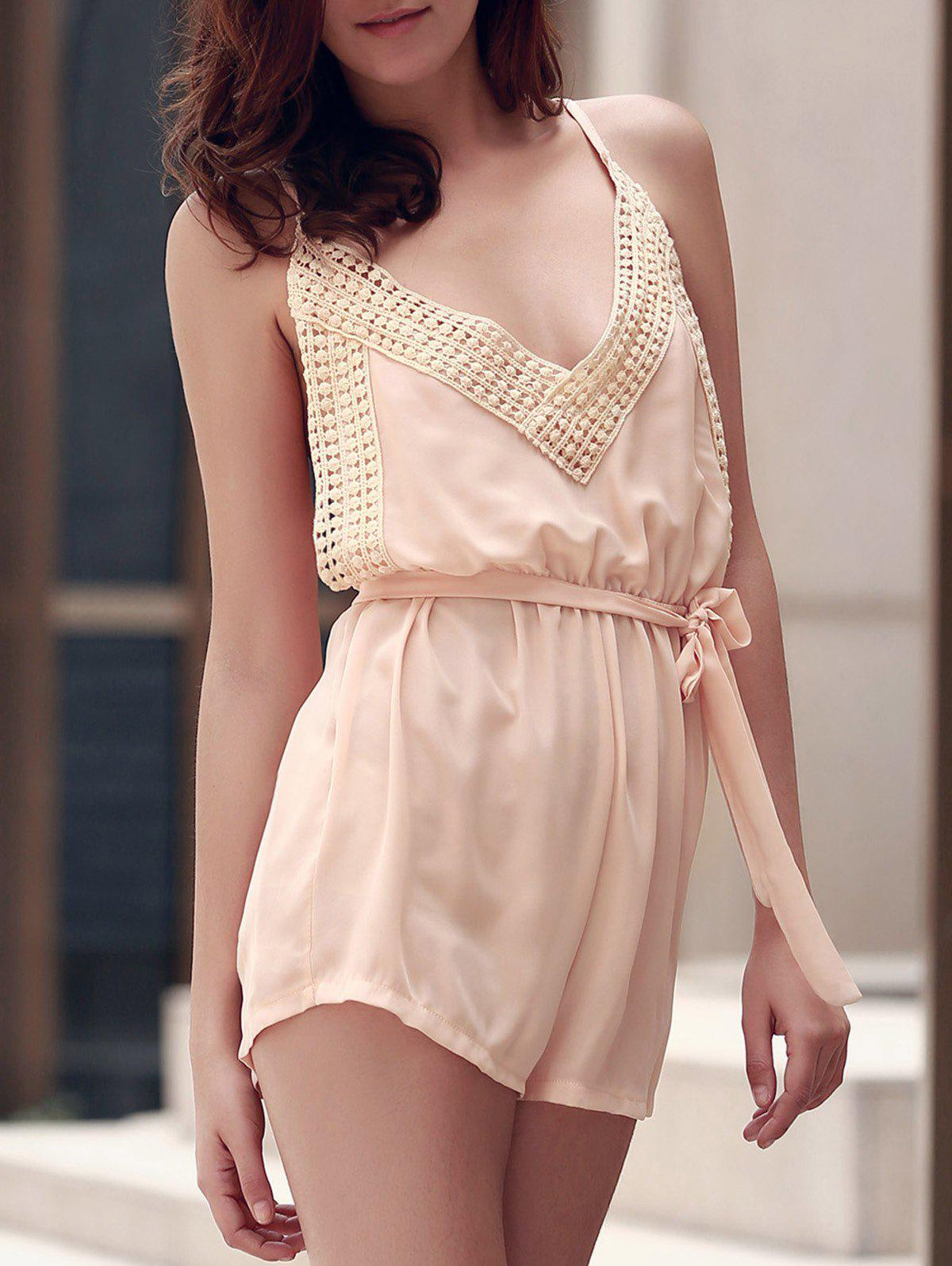 Sexy Spaghetti Strap Sleeveless Solid Color Backless Self Tie Belt Women's Romper - SHALLOW PINK S