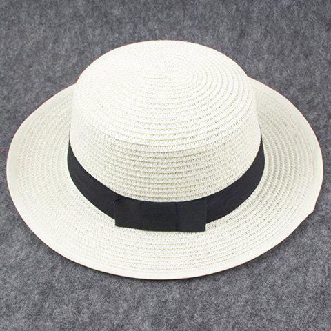 Chic Black Bow Lace-Up Embellished Flat Top Women's Straw Hat - WHITE