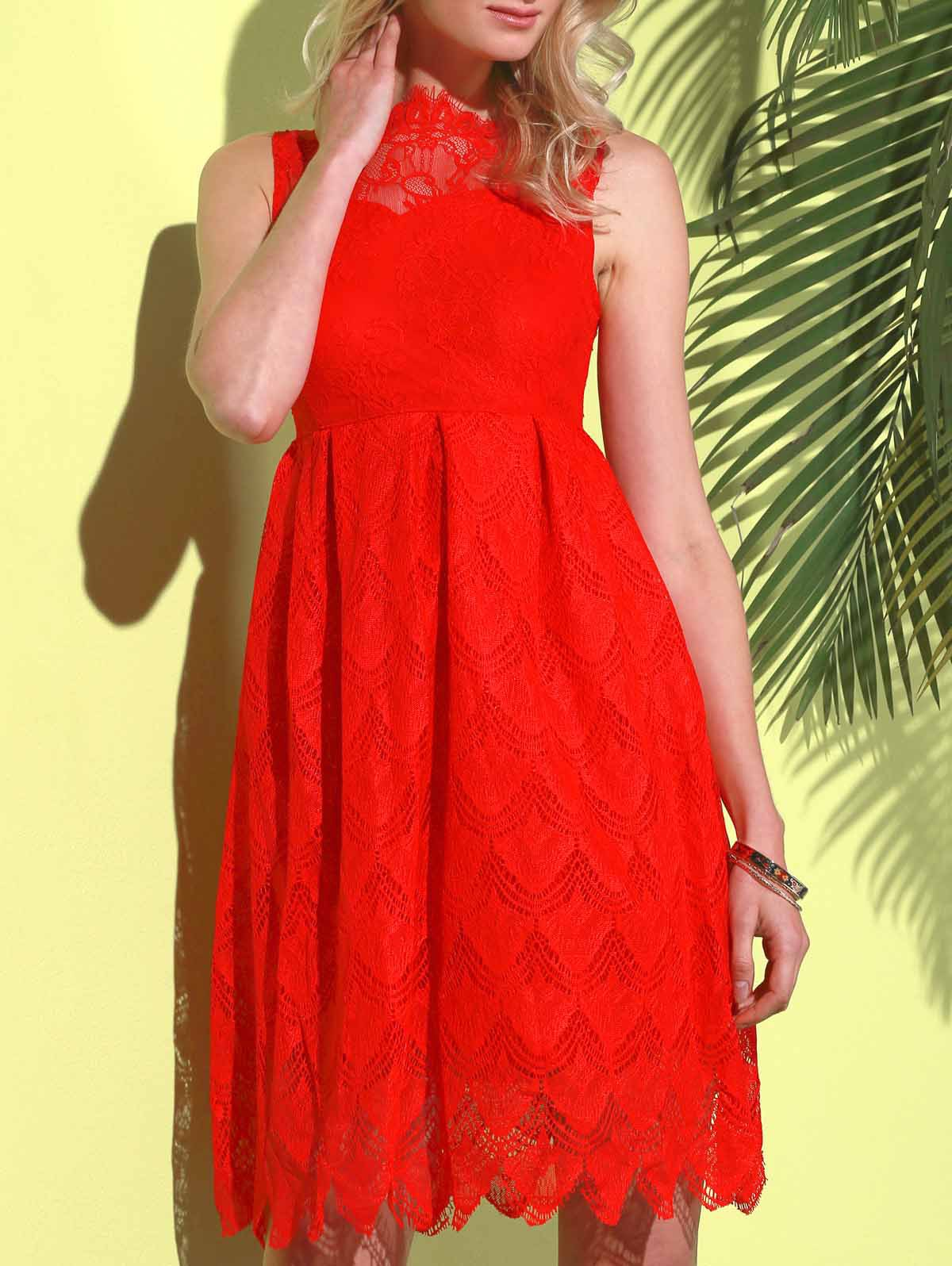 Stylish Round Neck Sleeveless Hollow Out Solid Color Lace Women's Dress - RED L