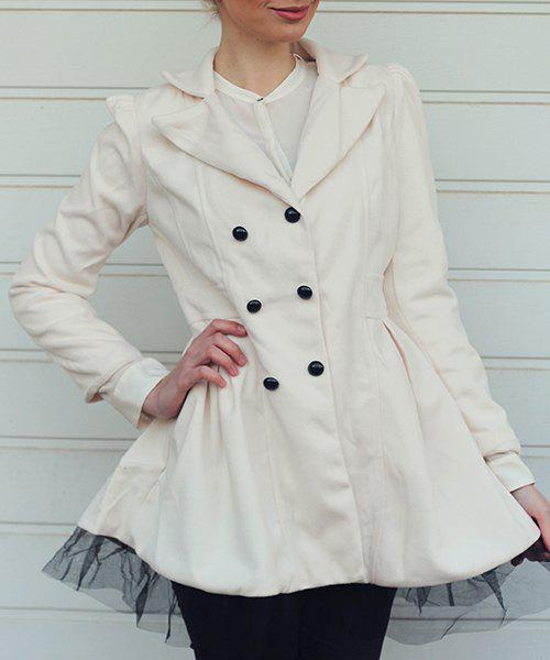 Women's Worsted Color Matching Double-breasted Beam Waist Voile Stitching Plicated Ruffles Long Edition Stylish Coat - WHITE S