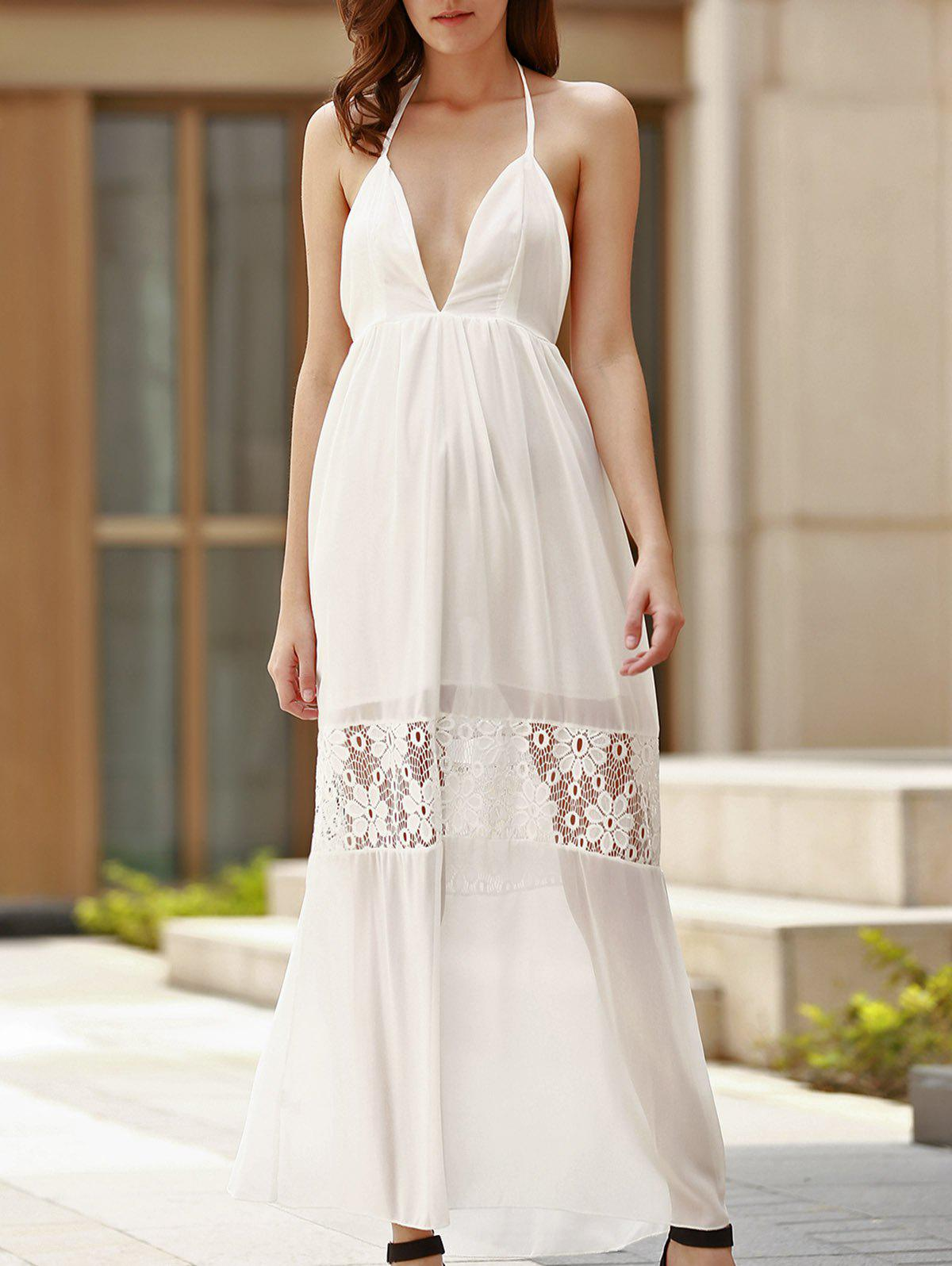 Sexy Women's Halter Plunging Neck Backless Maxi Dress - WHITE M