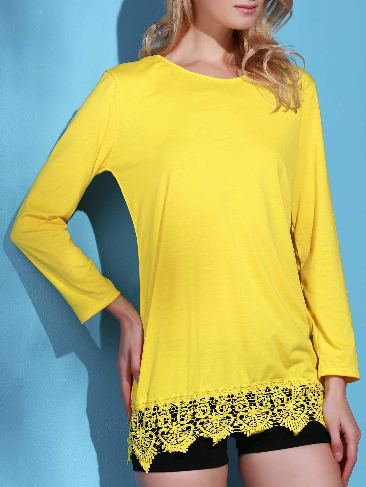 Stylish Long Sleeve Round Neck Laciness Pure Color Women's Dress - YELLOW L
