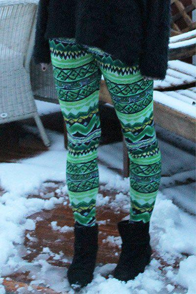 Stylish Elastic Waist Skinny Colored Printed Women's Leggings - GREEN ONE SIZE(FIT SIZE XS TO M)