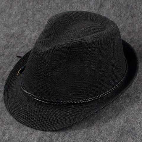 Chic Black Double Weaving Rope Embellished Women's Jazz Hat - BLACK