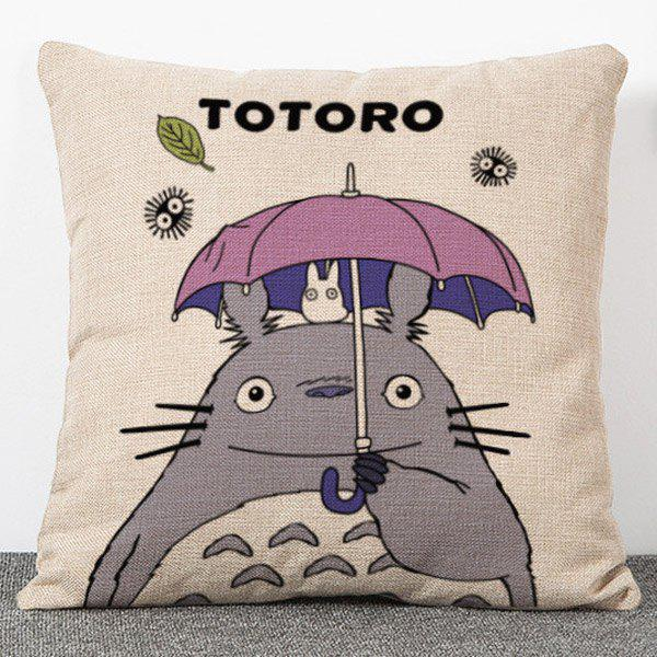 Chic Quality Cartoon Colorful Totoro Pattern Flax Pillow Case(Without Pillow Inner) - COLORMIX