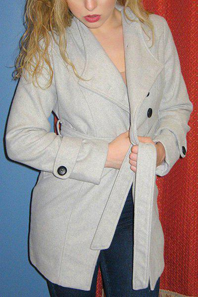 Elegant Candy Color Stand Collar Belt Design Long Sleeve Coat For Women - GRAY M
