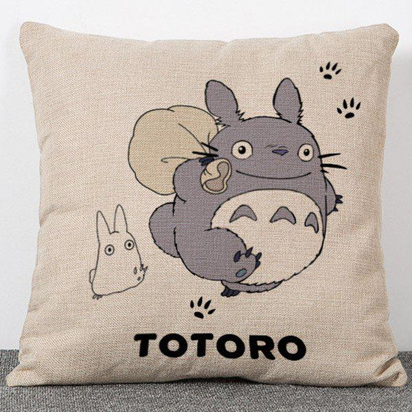 Sweet Anime Totoro Pattern Flax Pillow Case(Without Pillow Inner) - COLORMIX