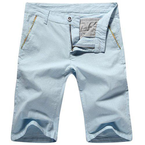 Casual Summer Solid Color Zip Fly Shorts For Men - LIGHT BLUE 30